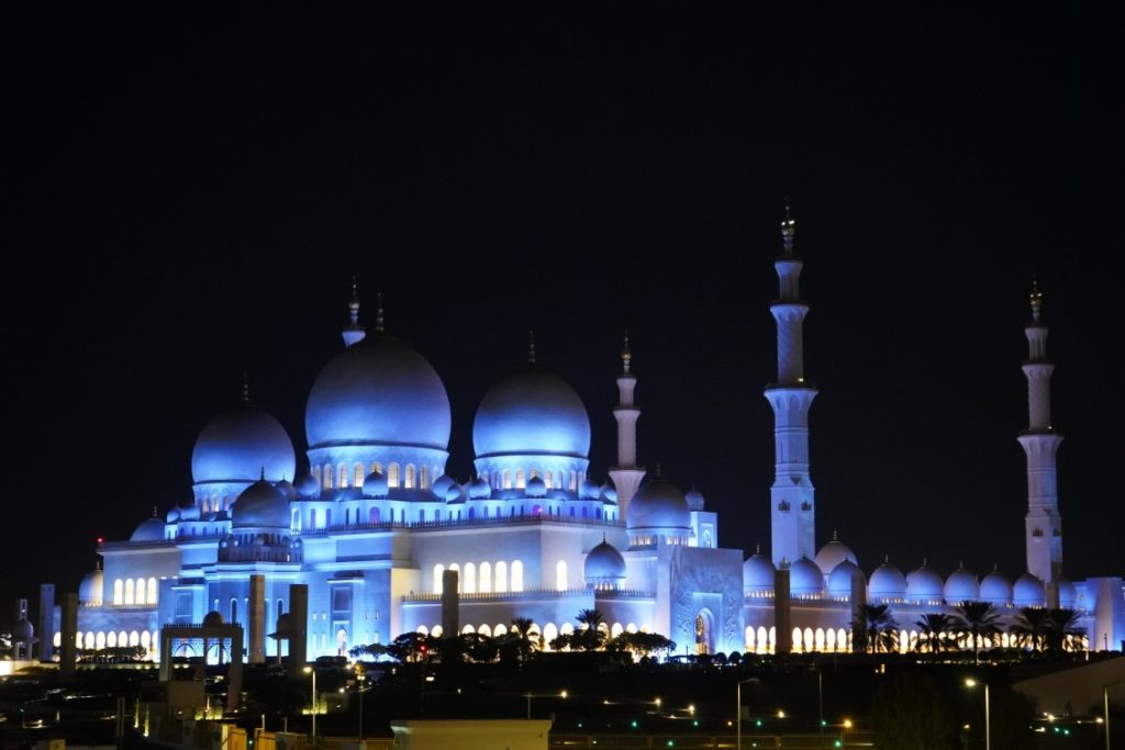 moschea abu dhabi di notte